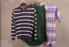 3 Ralph Lauren Polo Boys LS Dress Shirts & Sweater M 12 - 14 Plaid Solid Striped