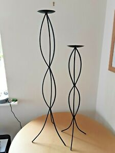 Pair of Increasing Solid Wrought Iron Candle Sticks Boho Dungeon Hippy