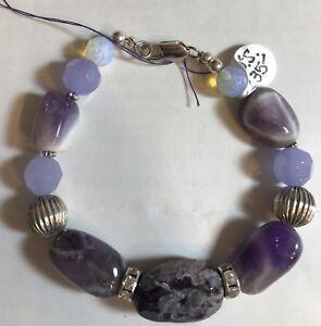 Amethyst, Opal, Silver & Rhinestone Spacers Natural Gemstone Bracelet.