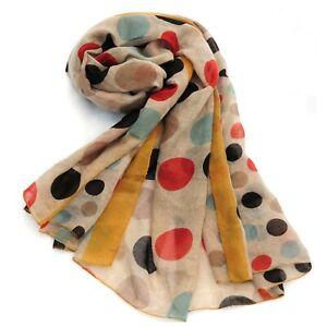 Polka Dot Print Womens Fashion Scarf (Mustard)