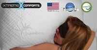 NEW Slim Bamboo Shredded Memory Foam Pillow Hypoallergenic, Dust Mite Resistant