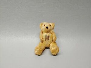 Antique miniature mini teddy bear jointed N on belly