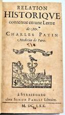 Charles Patin: RELATION HISTORIQUE. 2 Lettres -1670. Voyage en Allemagne, E. O.
