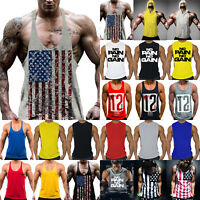 US Men Gym Workout Muscle Shirt Tank Top Sport Bodybuilding Singlet Fitness Vest