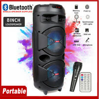 8'' Portable Bluetooth Party Speaker Subwoofer Heavy Bass System w/ Microphone