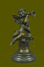 Art Nouveau Hot Cast Cherub Baby Angel Musician Music Player Bronze Sculpture