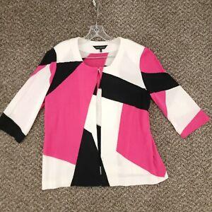 MING WANG Womens Large White Pink Black One Hook Open Sweater Cardigan