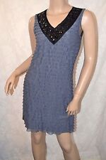 ALMOST FAMOUS Size 10 Gorgeous Cute Grey Layer Chiffon Effect Beaded Dress *VCG