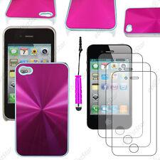 Housse Coque Rigide style chrome Rose Apple iPhone 4S 4+Mini Stylet+3 Films
