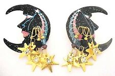 "LUNCH at the RITZ Man in the MOON Dangling STARS Post Earrings ~2-1/2""~ Crescent"
