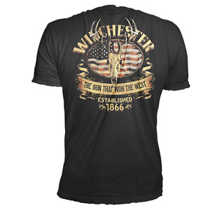 Official Winchester Men's Cotton Southern Rebel Skull Graphic T-Shirt (Black)