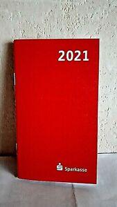 Taschenkalender 2021+Übersicht 2022~rot,Gr.ca.15x9cm,m.Werbung der Sparkasse,NEU