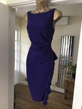 Coast purple crepe drape pencil wiggle cocktail party summer dress size 12