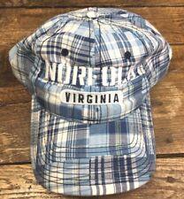 NWT Norfolk Virginia Blue &White Plaid Baseball Hat Cap Strapback (E)