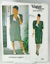 Vogue Paris Original 1173 Ungaro Sewing Pattern Womans Straight Dress Sz 16 B-38