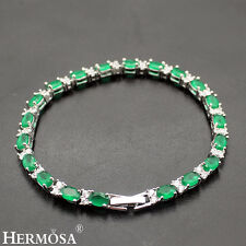 "Hermosa® 2016 AUTUMN NEW Sterling .925 Silver Genuine Topaz Emerald Bracelets 8"""