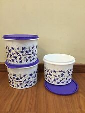 Tupperware Purple Spring Garden Round Canister Container 1.7L set of 3