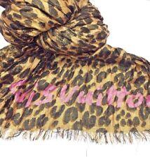 e7bc644e4045e Rare LOUIS VUITTON Stephen Sprouse LEOPARD Gold Cashmere Silk Stole Scarf