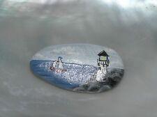 Estate Handpainted Seascape Sailing Boat Lighthouse Nautical Scene Oval Rock Pin