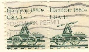 US EFO Scott #1898 Transportation 3c Handcar coil single, Mis-cut pair!