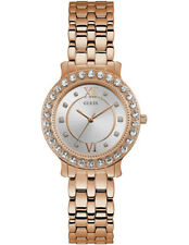 GUESS Ladies Blush Rose Gold Crystal Case Watch Model W1062L3