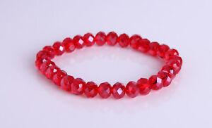 Red Crystal Ab Elasticated Bracelet