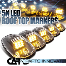 Clear 5x Amber LED Cab Roof Running Marker Lights Lamps w/ Wiring Kit
