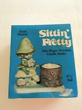 Vintage Pixie Elf Sitting on Mushroom Kitschy Porcelain Candle Holder Unused/Nos