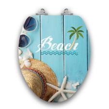 Tropical Beach Elongated Toilet Seat Slow Close Glossy Designer Ocean Bathroom