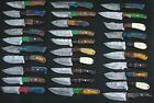 30 pieces Damascus steel skinning knives deal with Leather Sheath, only 1 lot