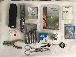 HOUSEHOLD JUNK DRAWER LOT Some Vintage-Counter/safe liter/knife Sharper Ect