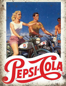 Pepsi Cola - Bikers - Metal Wall Sign (3 sizes - Small / Large and Jumbo)