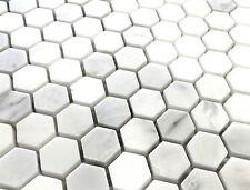 "Carrara White 1"" Hexagon Marble Mosaic Wall and Floor Tile Backsplash Bath"