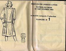 ▬► PATRON Couture Modes et Travaux - Robe lainage T 40 à 48 Avril 1983