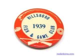 "Vintage 1937 ""Hillsboro Fish & Game Club"" Pin"
