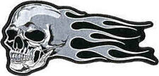 Iron On/ Sew On Embroidered Patch Badge Skull With Trailing Flames Grey/ White