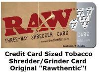 RAW Rolling Paper Brand Tobacco GRINDER Credit Card Sized SHREDDER Metal SIFTER