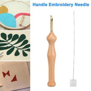 Magic Embroidery Pen Punch Needle Felting Threader Set Wooden Handle DIY Kit AU