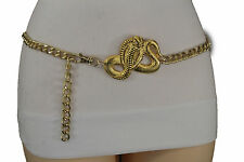 Women Hip High Waist Fashion Belt Gold Metal Chain Link Cobra Snake Charm XS S M