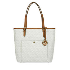 Michael Kors Jet Set Monogram Travel Logo Tote - Vanilla