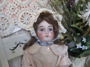 "20"" Antique German Doll - Bisque/compo - Unmarked Kestner - mohair wig"