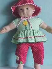 Red Dot Capris with Peeping Frog, Ruffled Green Top, Hat fits Bitty Baby & Twins