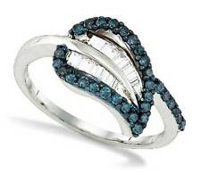 Blue Diamond Band .925 Sterling Silver Blue & White Diamond Cluster Ring .57ct