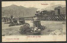 Ventimiglia - Imperia - Ponte di ferro sul Roja passaggio del Treno a Vapore