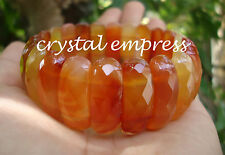 FENG SHUI - HIGH GRADE FACETED 25MM CARNELIAN BANGLE CUFF BRACELET