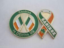"""SAOIRSE"" FREEDOM 2Pc Set Irish Republican Tri/Color  ""I Am Of Ireland"" Gaelic"