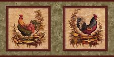 """""""ROOSTERS""""-BORDER-2 DIFFERENT-FRAMED-10""""HIGH-$9.00 PER ROLL-FREE S&H"""