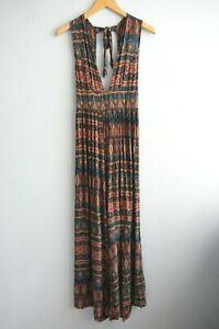 Jaase Sleeveless Tie neck V neck Open Back Multicoloured Pattern Jumpsuit sz M