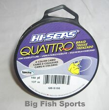 HI-SEAS QUATTRO BRAID 4-Color Camo Fishing Line 65lb/150yds #QB-S150-65