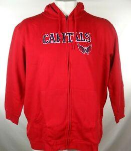 Washington Capitals Men Full-Zip Distress Logo Hoodie Hooded Sweatshirt NHL 2XL